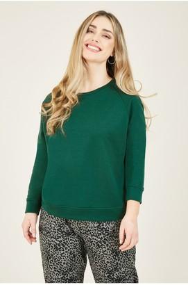Yumi Green Jersey Relaxed Sweatshirt