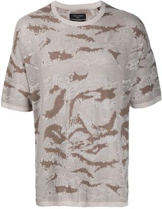 AllSaints camouflage print short-sleeved T-shirt