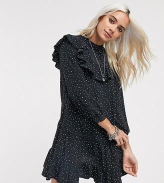 Topshop Petite mini dress with ruffle detail in mono-Black