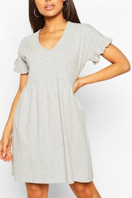 boohoo V Neck Frill Sleeve Smock Dress