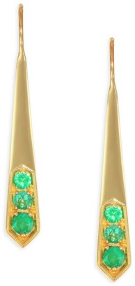 Ila Livia 14K Gold & Emerald Earrings