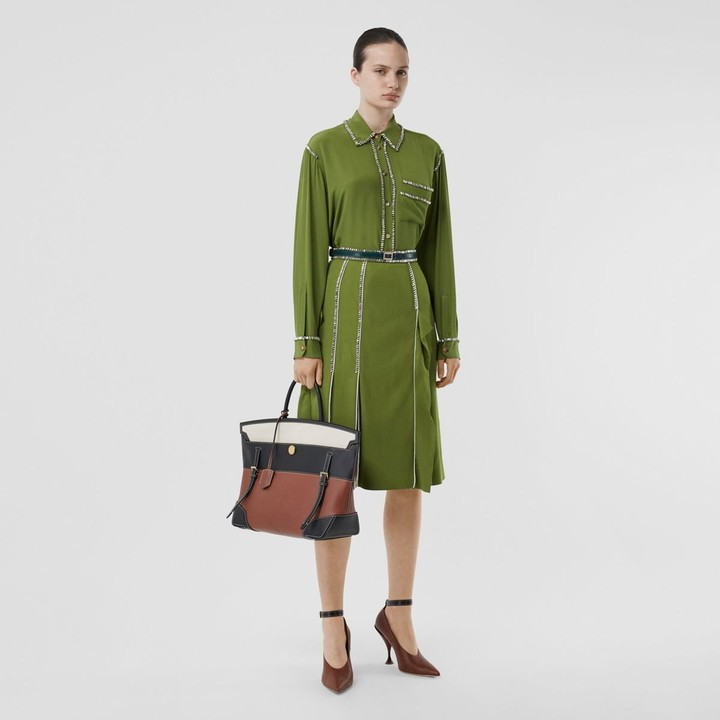 Burberry Crystal Detail Panelled Wool Crepe A-line Skirt