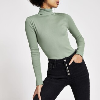 River Island Womens Light Green long sleeve roll neck ribbed top