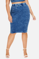 Fashion to Figure Jessie Acid Wash Denim Pencil Skirt