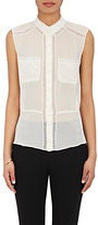 Nina Ricci WOMEN'S SILK PLEAT-BACK SLEEVELESS BLOUSE
