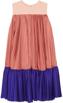 Roksanda Malene Color-block Pleated Satin-twill And Crepe De Chine Mini Dress