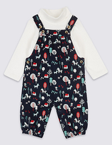 Marks and Spencer 2 Piece Pure Cotton Dungarees Outfit