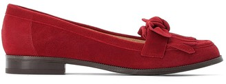 Suede Loafers with Fringing and Bow