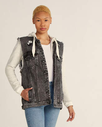 Scotch & Soda Denim Trucker Vest with Removable Hoodie