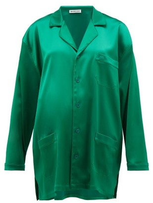 Balenciaga Bb Logo Embroidered Satin Shirt - Womens - Green