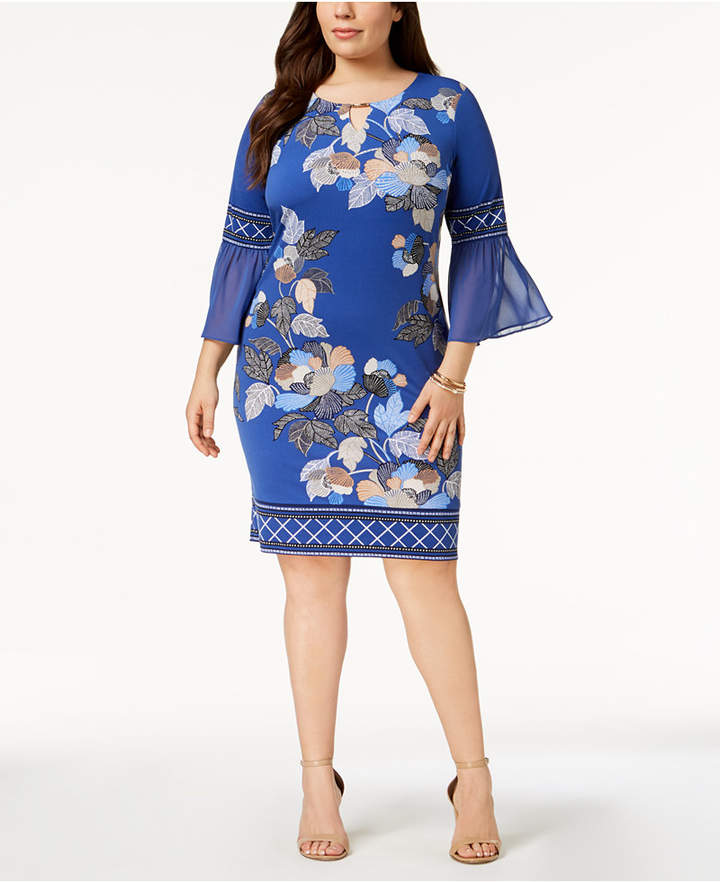 19b912be6 Plus Size Sheer Sleeve Dress - ShopStyle