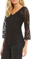 Figueroa & Flower Faye V-Neck All-Over Lace Top
