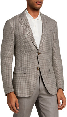 Ermenegildo Zegna Men's Regular-Fit Houndstooth Linen-Blend Sport Jacket