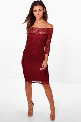 boohoo Petite Lace Bardot Midi Dress