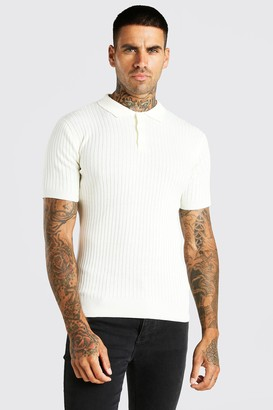boohoo Mens White Short Sleeve Muscle Fit Ribbed Knit Polo, White