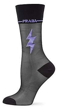 Prada Women's Lightning Bolt Sheer Socks