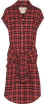 R 13 Tie-Front Plaid Flannel Shirt Dress