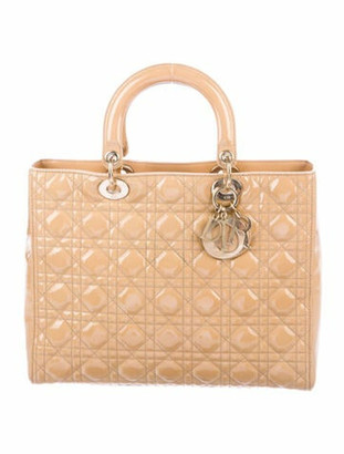 Christian Dior Large Cannage Lady Tote Gold