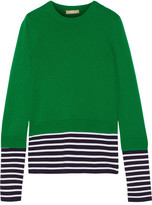 Michael Kors Layered Striped Jersey And Cotton And Cashmere-blend Sweater - Green