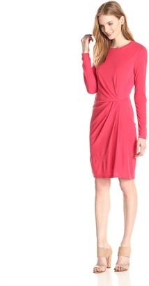 BCBGMAXAZRIA Women's Roxie Long Sleeve Dress with Front Tuck