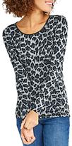 Oasis Brushed Animal Jersey Top, Multi Grey