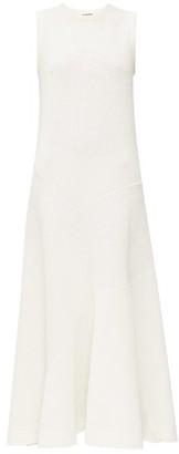 Jil Sander Flared Rib-knitted Linen-blend Maxi Dress - Ivory
