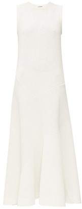 Jil Sander Flared Rib-knitted Linen-blend Maxi Dress - Womens - Ivory