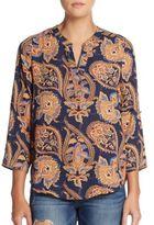 Daniel Rainn Floral Print Roll-Tab Sleeve Top
