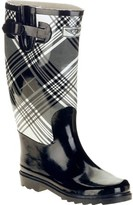 Forever Young Ladies Two Tone Plaid Print Tall Rain Boot