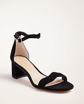 Ann Taylor Nicole Wavy Suede Block Heel Sandals