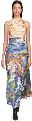 Jil Sander Printed Silk Jersey Long Dress