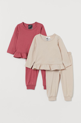 H&M 2-pack Cotton Pajamas - Pink