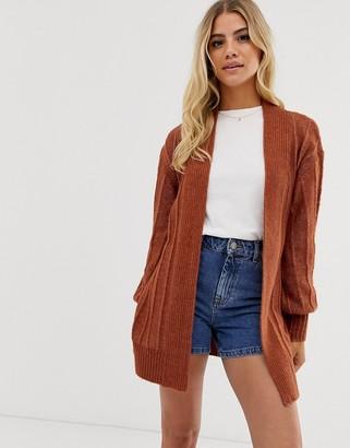Asos Design DESIGN coatigan in fluffy yarn-Red
