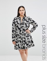 Club L Plus Shirt Dress In Mono Floral Print
