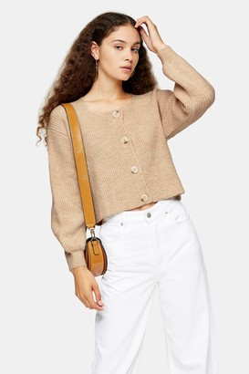 Topshop Womens Oat Square Neck Knitted Cardigan - Oatmeal