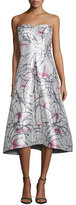 Phoebe Couture Strapless Printed Tea-Length Gown