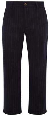Séfr Mike Pinstriped Technical-felt Trousers - Mens - Navy