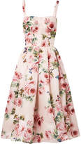 Dolce & Gabbana Pleated Floral-print Silk-organza Midi Dress - Pastel pink