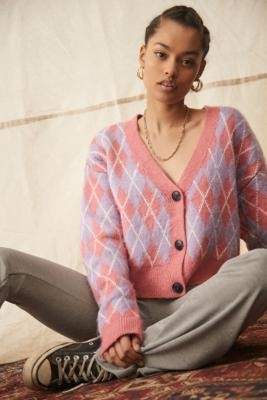 Urban Outfitters Argyle Boxy Cardigan - Pink XS at