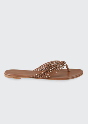 Gianvito Rossi Beaded Multi-Strap Flat Thong Sandals