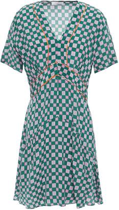 Sandro Dalli Gathered Printed Silk Crepe De Chine Mini Dress