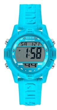 GUESS Blue Silicone Digital Watch 40mm
