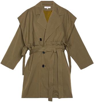 SASQUATCHfabrix. Power Shoulder Trench Coat in Olive | FWRD