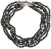 Carolee Hematite-Tone Jet Stone Multi-Layer Collar Necklace