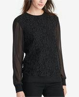 Lauren Ralph Lauren Lace Sheer-Sleeve Sweatshirt