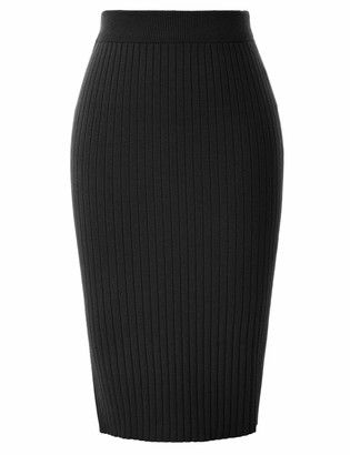 Kate Kasin Midi Skirt High Stretchy Vintage Knee-Length Hips-Wrapped Skirt for Party Picnic Banquet Chocolate KKA02136-2_XL