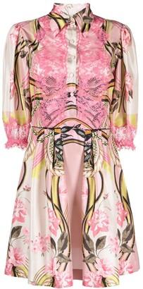 Alberta Ferretti Printed Lace Panel Shirtdress