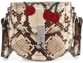 Altuzarra Ghianda Mini Python Saddle Bag with Sequined Cherries, Gray Pattern