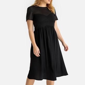 Castaluna Plus Size Flared Mesh Midi Dress