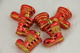 """CC Christmas Decor Red Shiny Shatterproof Glitter Boot Christmas Ornaments, 6 Pack, 2"""""""